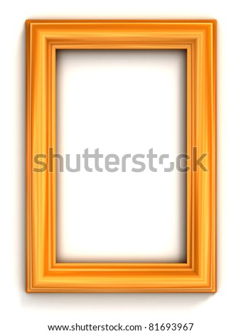 golden photo frame - stock photo