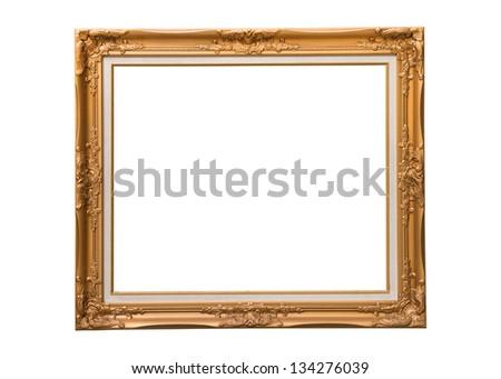 Golden photo frame isolated on white background - stock photo