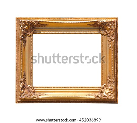 Golden Picture Frame Isolated Included Clipping Path - stock photo