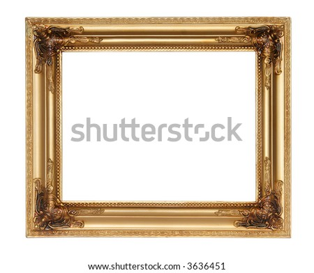 Golden picture frame. Isolated on white. - stock photo