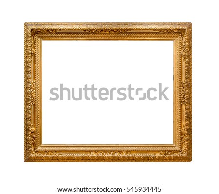 golden picture frame isolated on white background