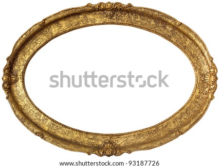 Golden picture frame isolated on white background - stock photo