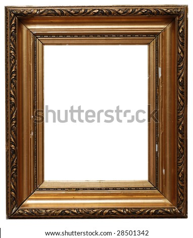 Golden picture frame isolated on white. Clipping path included. - stock photo