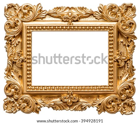 Golden picture frame. Vintage object isolated on white background - stock photo