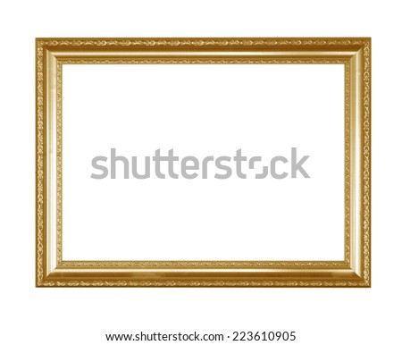 golden picture frame with carved pattern isolated on white background - stock photo