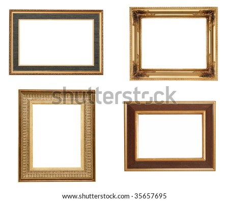 Golden picture frames, isolated on white - stock photo