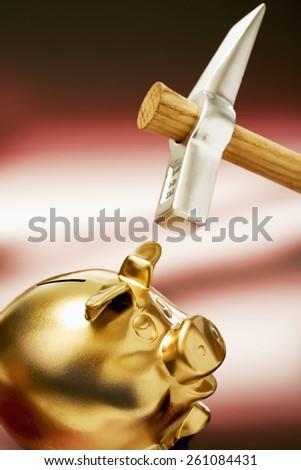 Golden piggy bank and hammer - stock photo