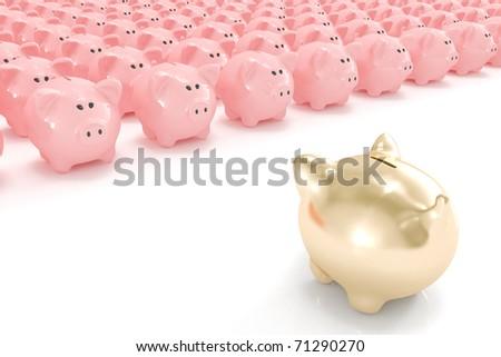 Golden piggy bank facing hundreds of other piggy banks - stock photo