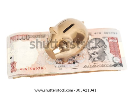 Golden piggy bank on indian 1000 rupee isolated on white - stock photo