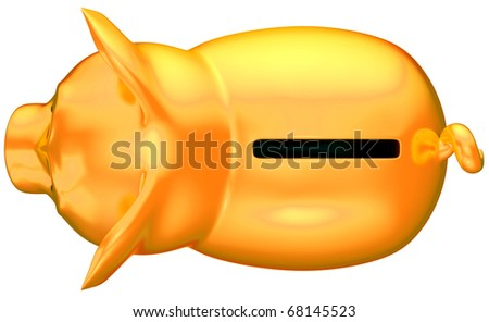 Golden piggy bank top view isolated over white
