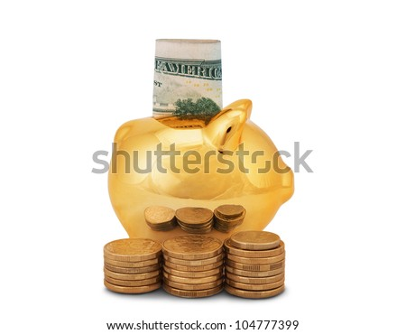 golden piggy bank with coins and banknotes isolated on white background - stock photo