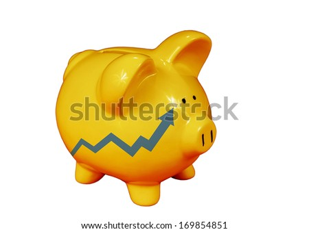 Golden piggy bank with  wealth growth graph isolated on on white - stock photo