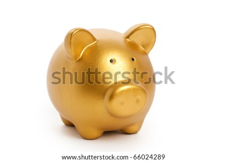 Golden Piggy Bank with white background - stock photo
