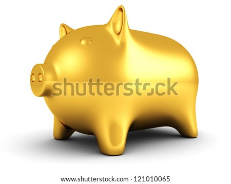 Golden piggy money bank on white background - stock photo