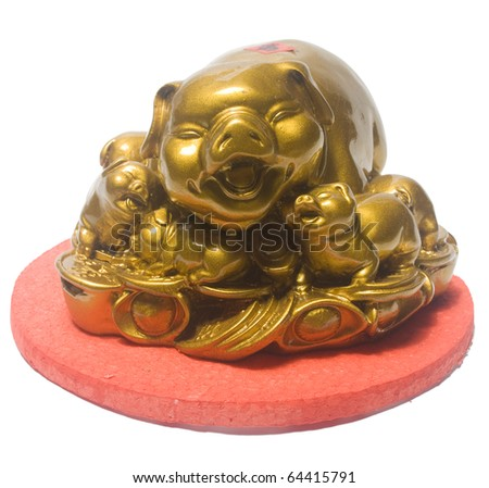 Golden Pigs. Clipping Path Included. - stock photo