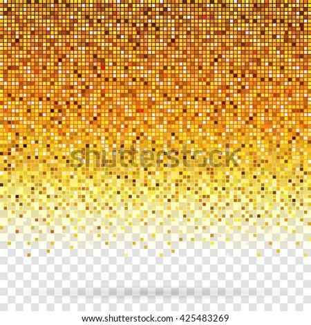 Golden pixels flickering texture abstract background. - stock photo