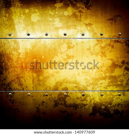 golden plate - stock photo