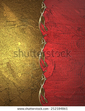 Golden plate with patterns and red background. Design template