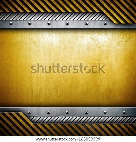 golden plate with warning stripes - stock photo