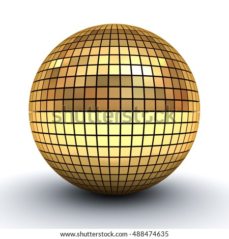 Golden polygonal sphere isolated over white background with shadow. 3D rendering.