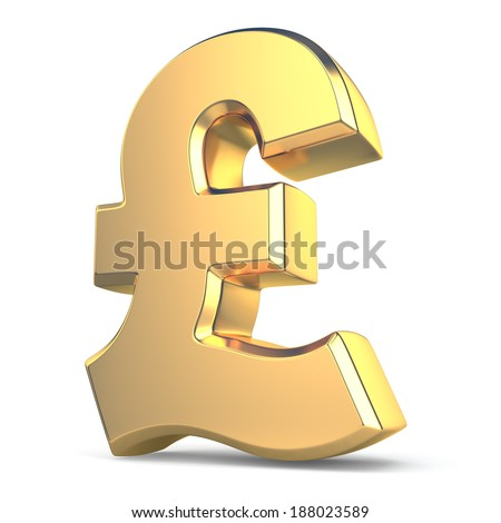 Golden pound currency sign on white isolated background. 3d - stock photo