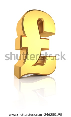 Golden pound currency symbol isolated on white background. 3d render - stock photo