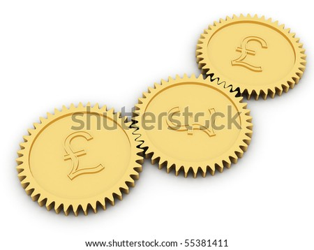 Golden pound gears on white background. High resolution 3D image rendered with soft shadows - stock photo