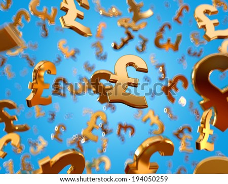 Golden pound sterling signs falling on the blue background. - stock photo