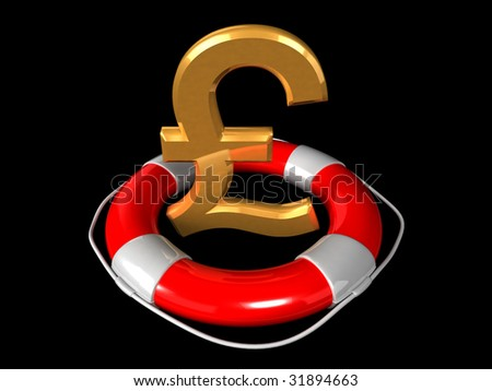 Golden Pound symbol and lifebuoy ring isolated on a black (3D render)