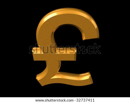 Golden Pound symbol isolated on a black (3D rendering) - stock photo