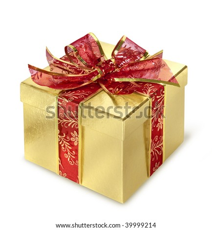 Golden present surprise box with red wrap and bow - stock photo