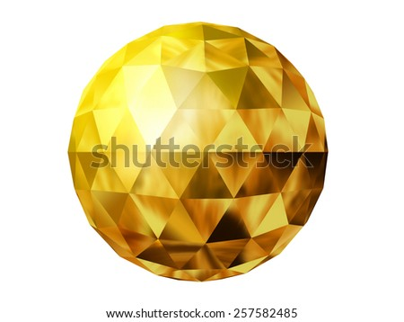 golden prism ball - stock photo