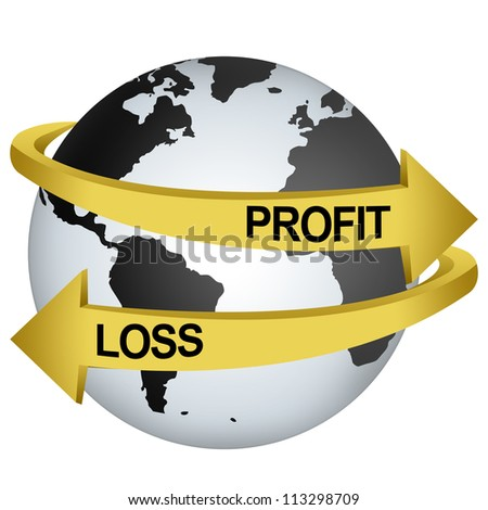 Golden Profit And Loss Arrow Around The Gray Earth For Business Direction Concept Isolate on White Background - stock photo