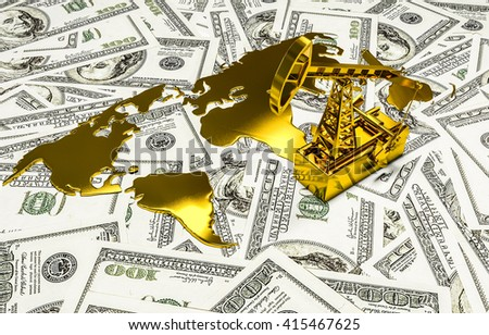 Golden Pumpjack And Spilled Oil On The Money. 3d render - stock photo