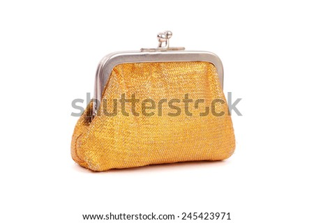 golden purse isolated on white - stock photo