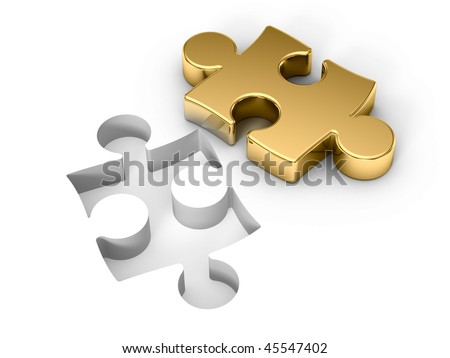 Golden puzzle - stock photo