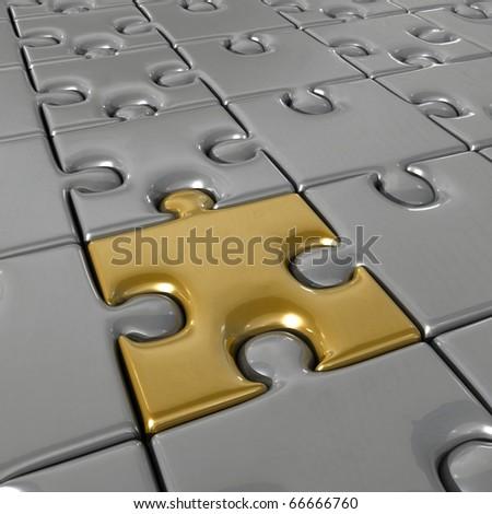 Golden puzzle. - stock photo