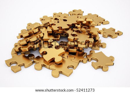 golden puzzle. isolated on white