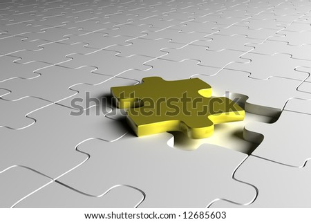 Golden puzzle piece - stock photo