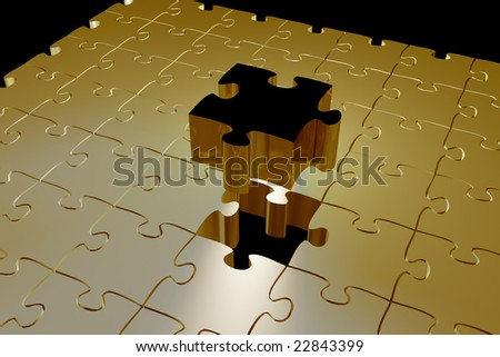 Golden puzzle piece fitting into hole - stock photo