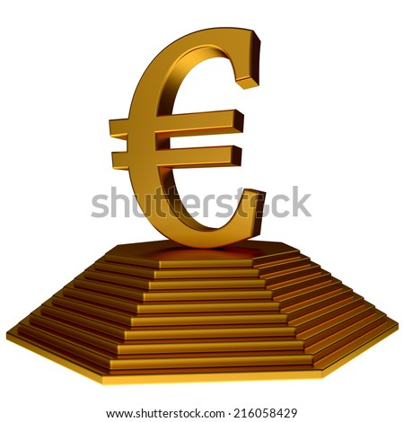 golden pyramid and euro symbol isolated on the whiote backgruond - stock photo