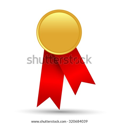 Golden quality label with red ribbon isolated on white background.