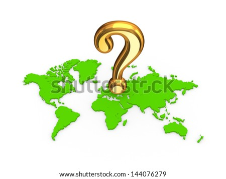 Golden query mark on a map.Isolated on white.3d rendered. - stock photo
