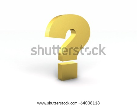 Golden question mark isolated on white background - stock photo