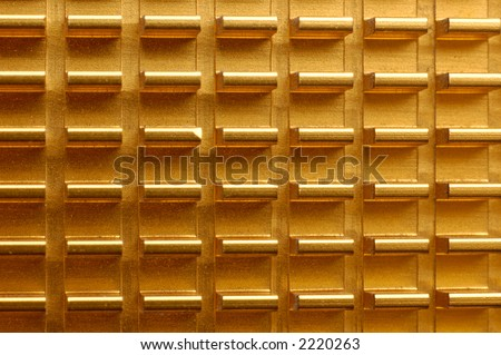 Golden radiator abstract macro texture