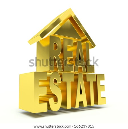 Golden Real Estate symbol. 3d render illustration. - stock photo