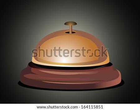 Golden reception bell - stock photo