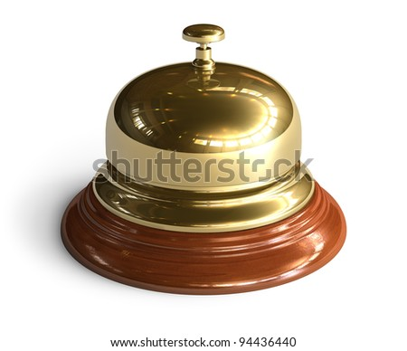 Golden reception bell isolated on white background