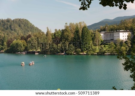 Golden reflections on Bled Lake - Slovenia