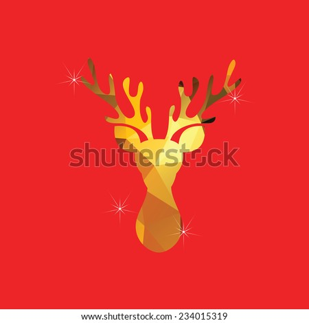 golden reindeer on red background for Christmas celebrate - stock photo